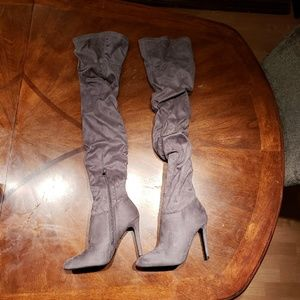 Forever 21 gray faux suede thigh high boots